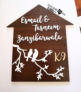 House shaped Wooden Couple Nameplate