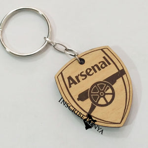 Wooden Arsenal Logo Football / Soccer Keychain