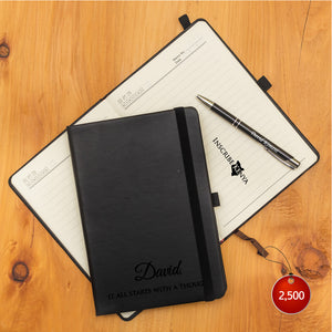 Personalized Black Notebook + Pen