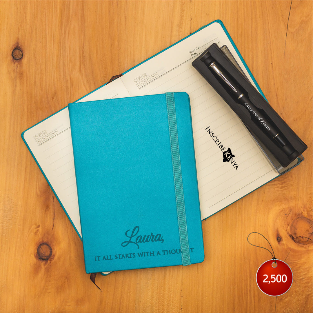Personalized Blue Notebook + Pen