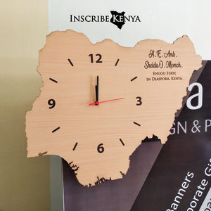 Nigeria Shaped Wooden Wall Clock