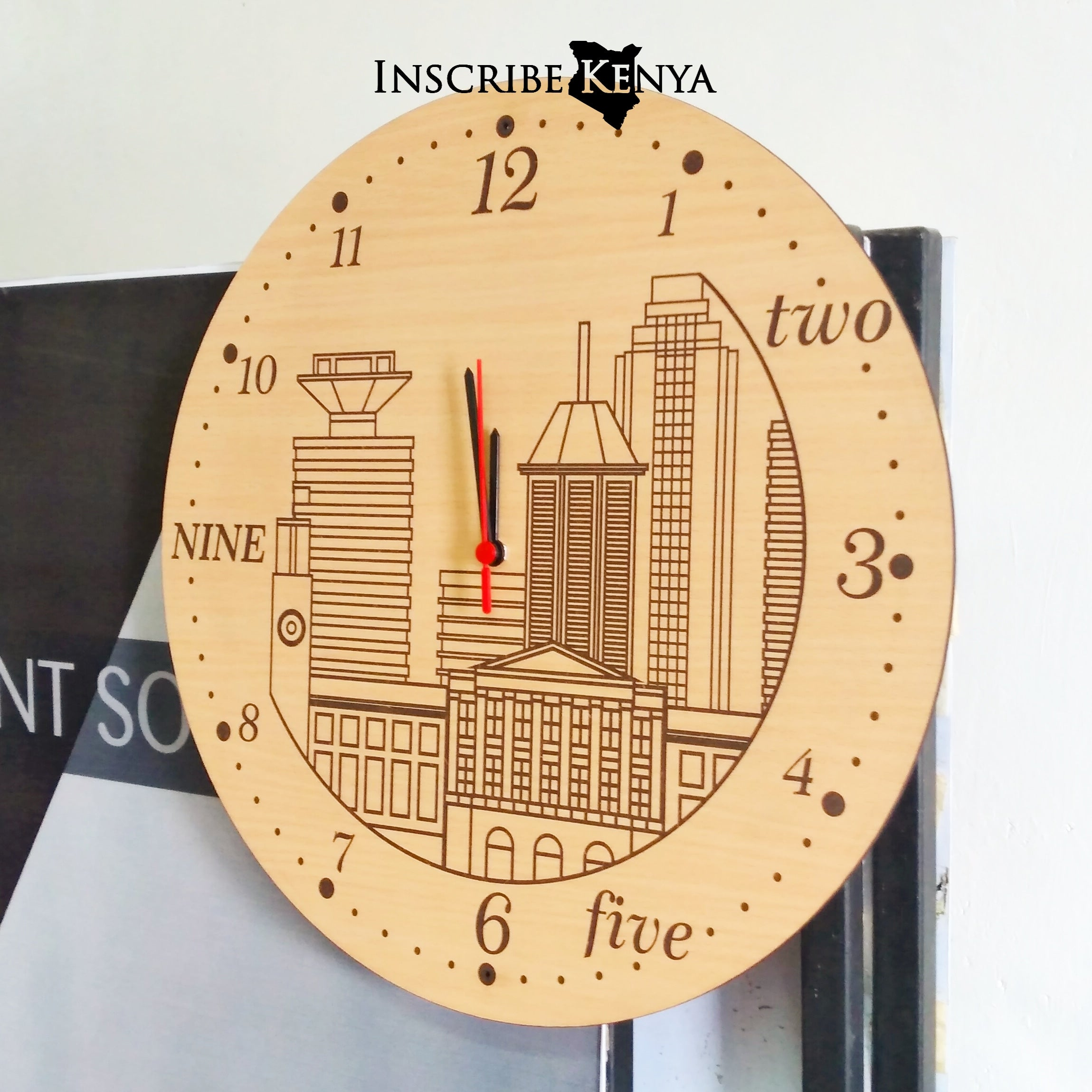 Nairobi Timeline Wooden Wall Clock