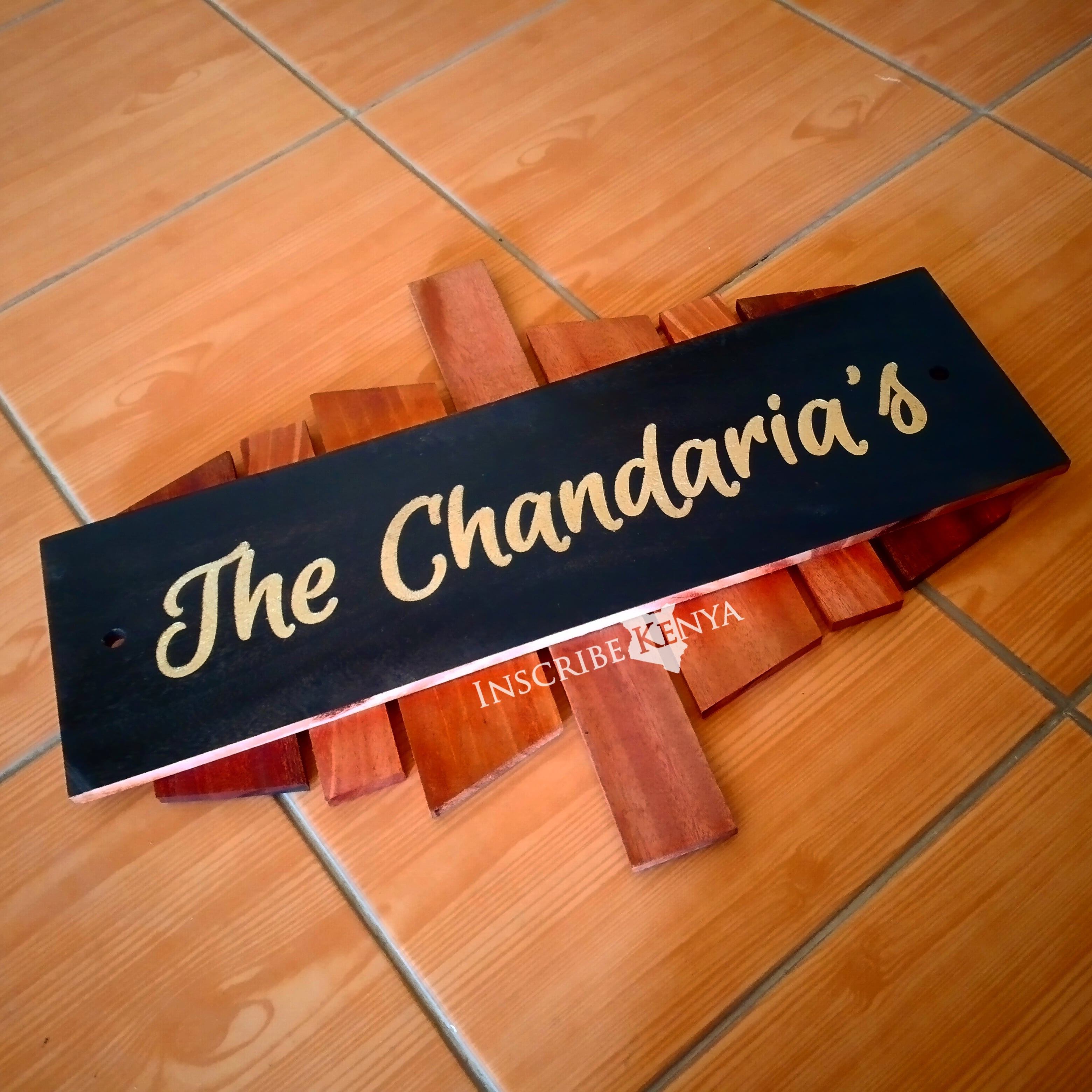 Wooden Hardwood Layered Nameplate - 15 by 20 Inches