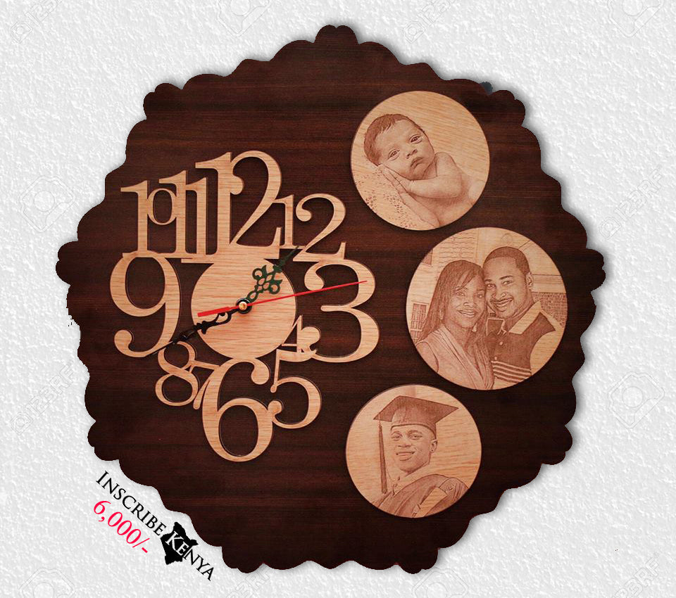 Round Pictures wooden wall clock