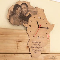 Africa shaped picture wall clock