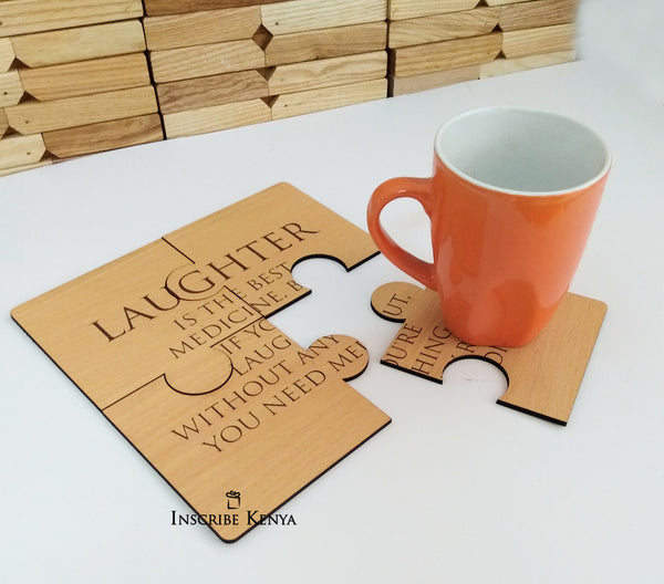 Inscribed Wooden Coaster Set