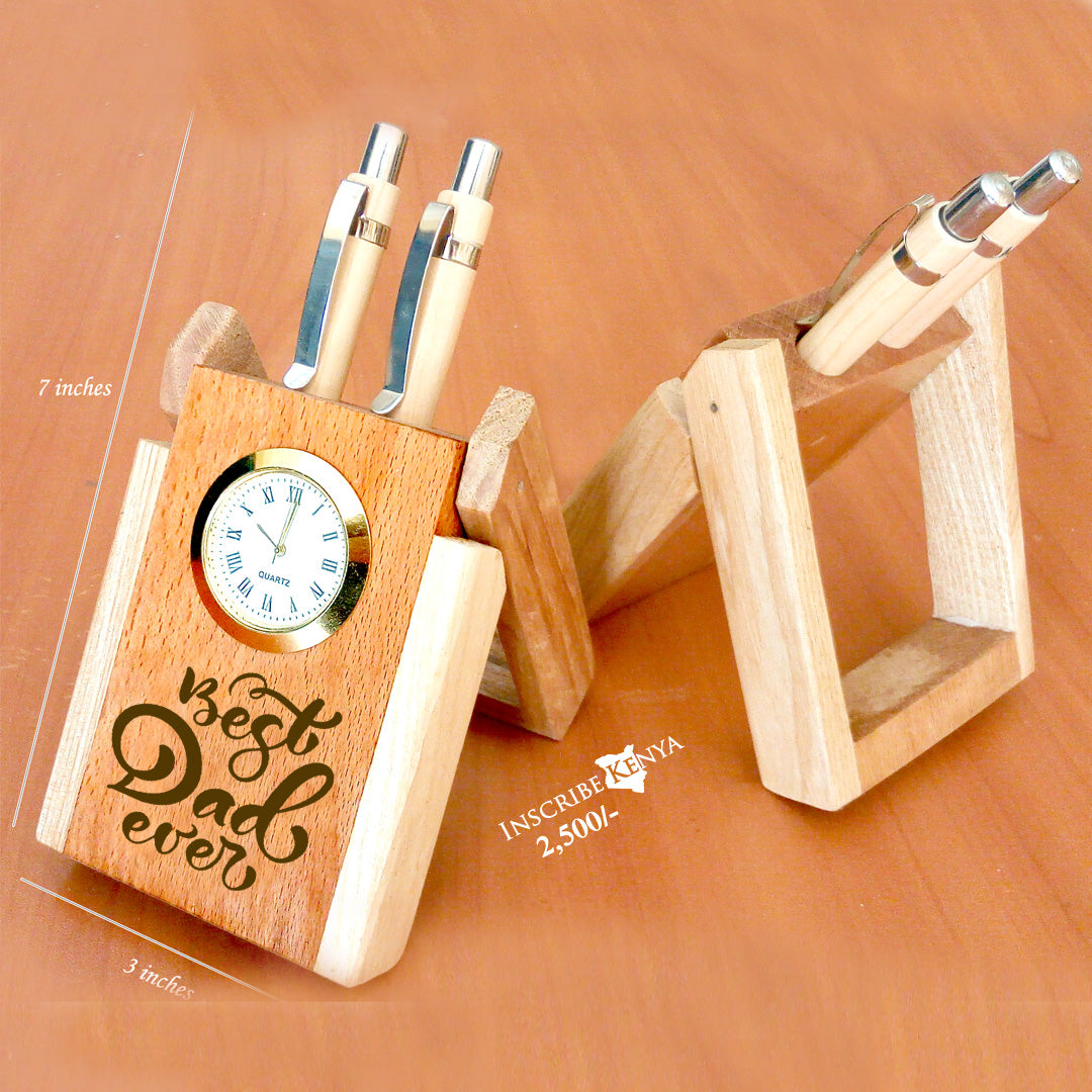 Wooden Pen Holder Best Dad