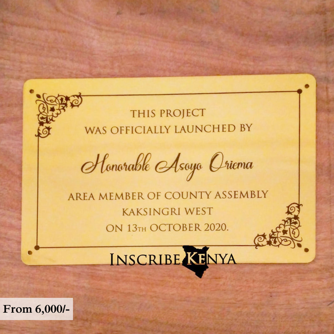 Gold Acrylic Inauguration Plaque