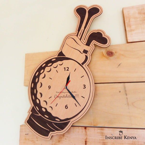 Golf themed wooden wall clock