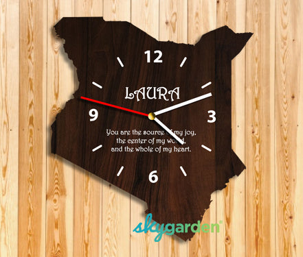 Kenya Wooden Wall Clock Dark