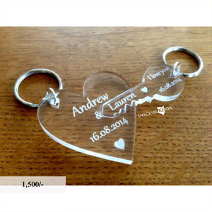 Acrylic Heart Key Pair Keychains