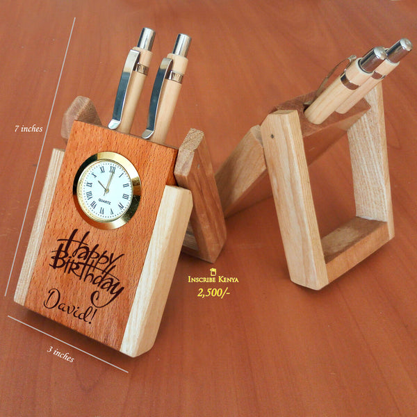 Elegant Wooden Pen Holder Birthday
