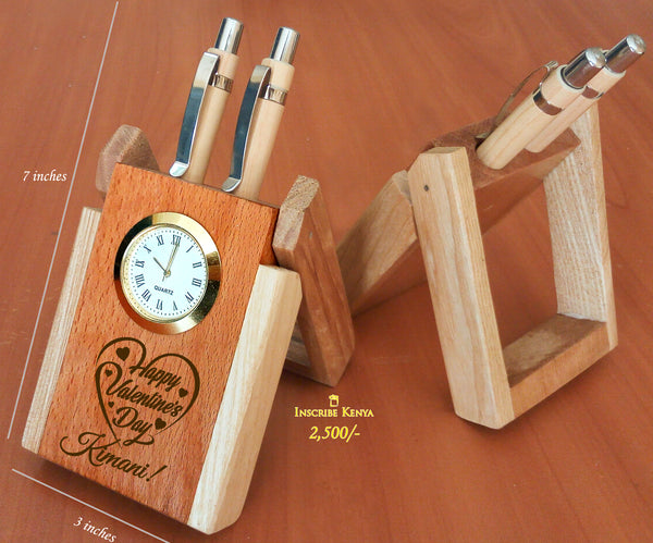 Elegant Wooden Pen Holder valentines