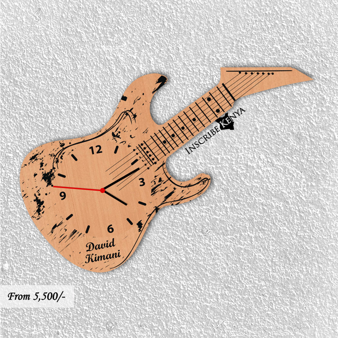 Wooden Guitar Shaped Wall Clock WC005