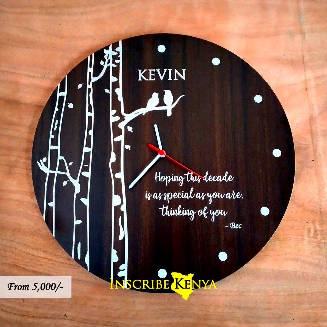 Wooden Dark Lovebirds Round Clock WC009