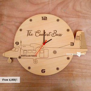 Wooden Kenya Air Force Plane Aeroplane Wall Clock WC012