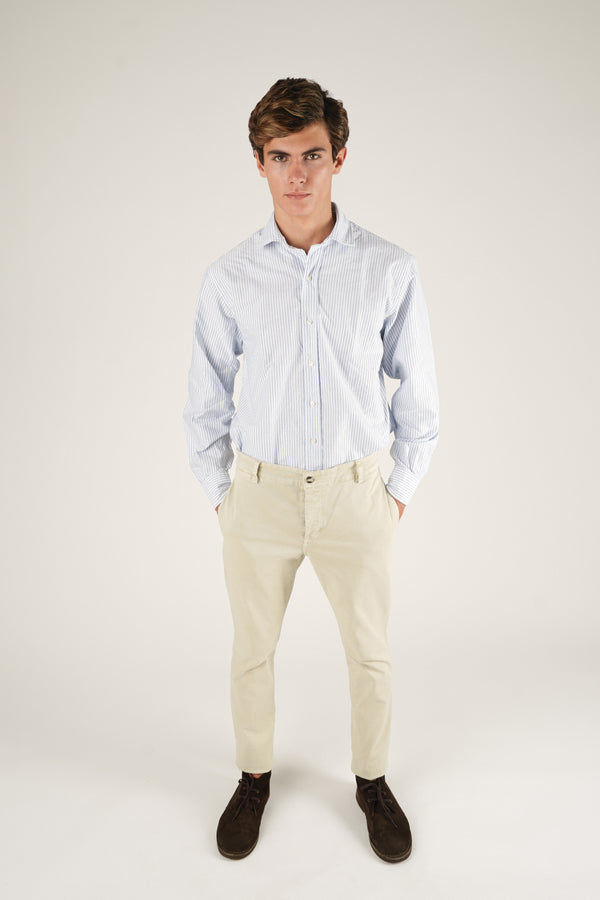 Cotton Shirt - Blue and White Striped Oxford