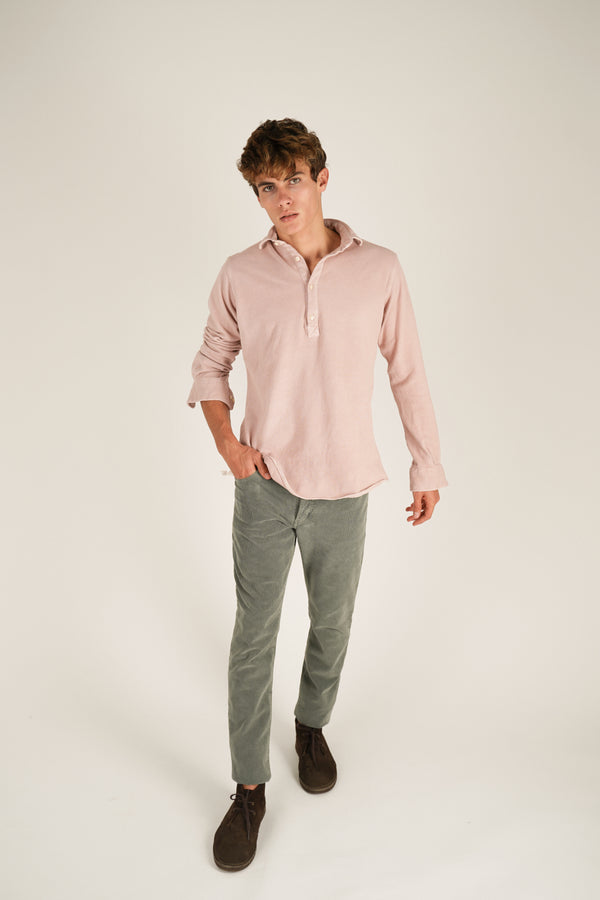 Micro Corduroy Five Pockets Trousers - Washed Stone