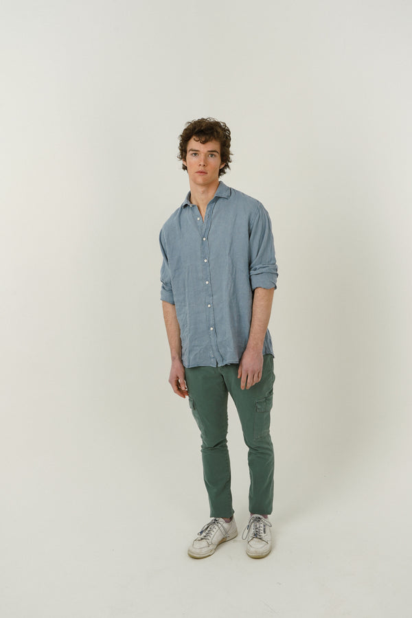 Linen Shirt - Washed Navy Blue