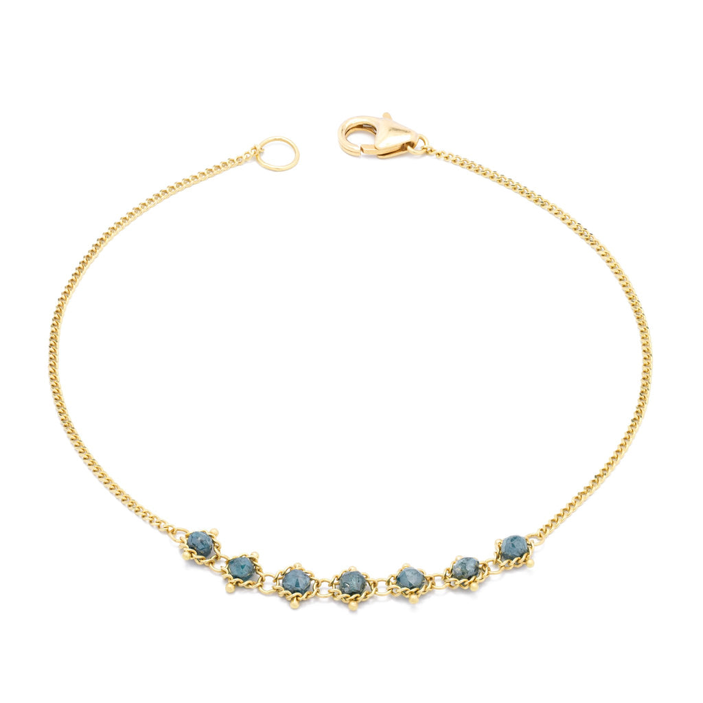 Amali-Petite Textile Bracelet in Blue Diamond