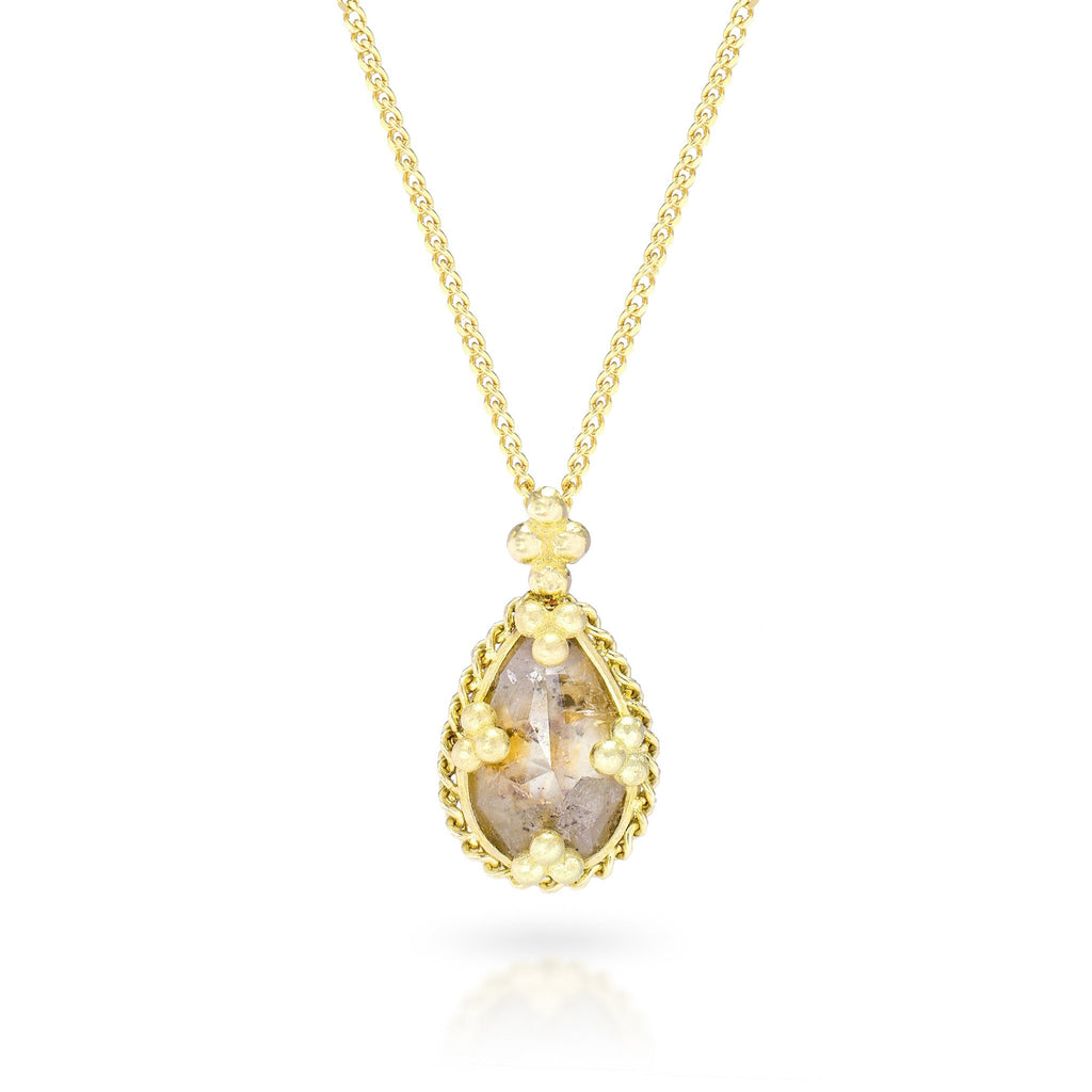 Amali-Diamond Teardrop Necklace