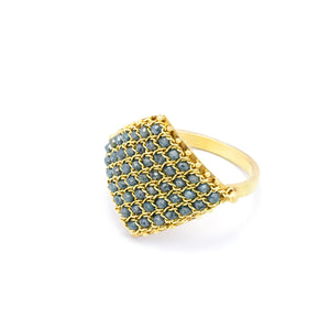 Amali Textile Ring in Blue Diamond