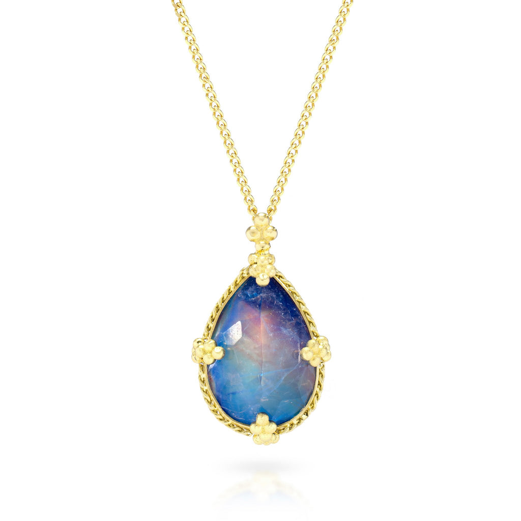 Amali-Faceted Moonstone Teardrop Necklace