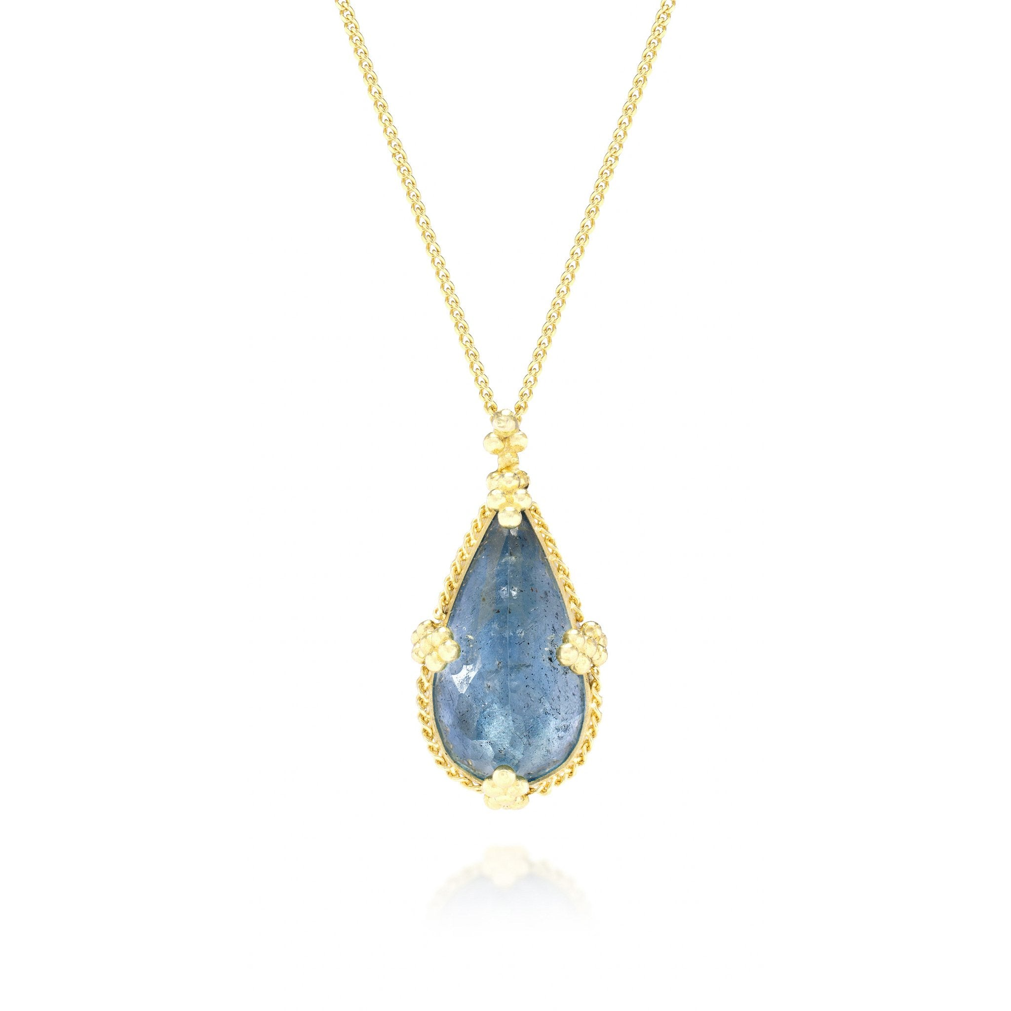Amali-Aquamarine Teardrop Necklace