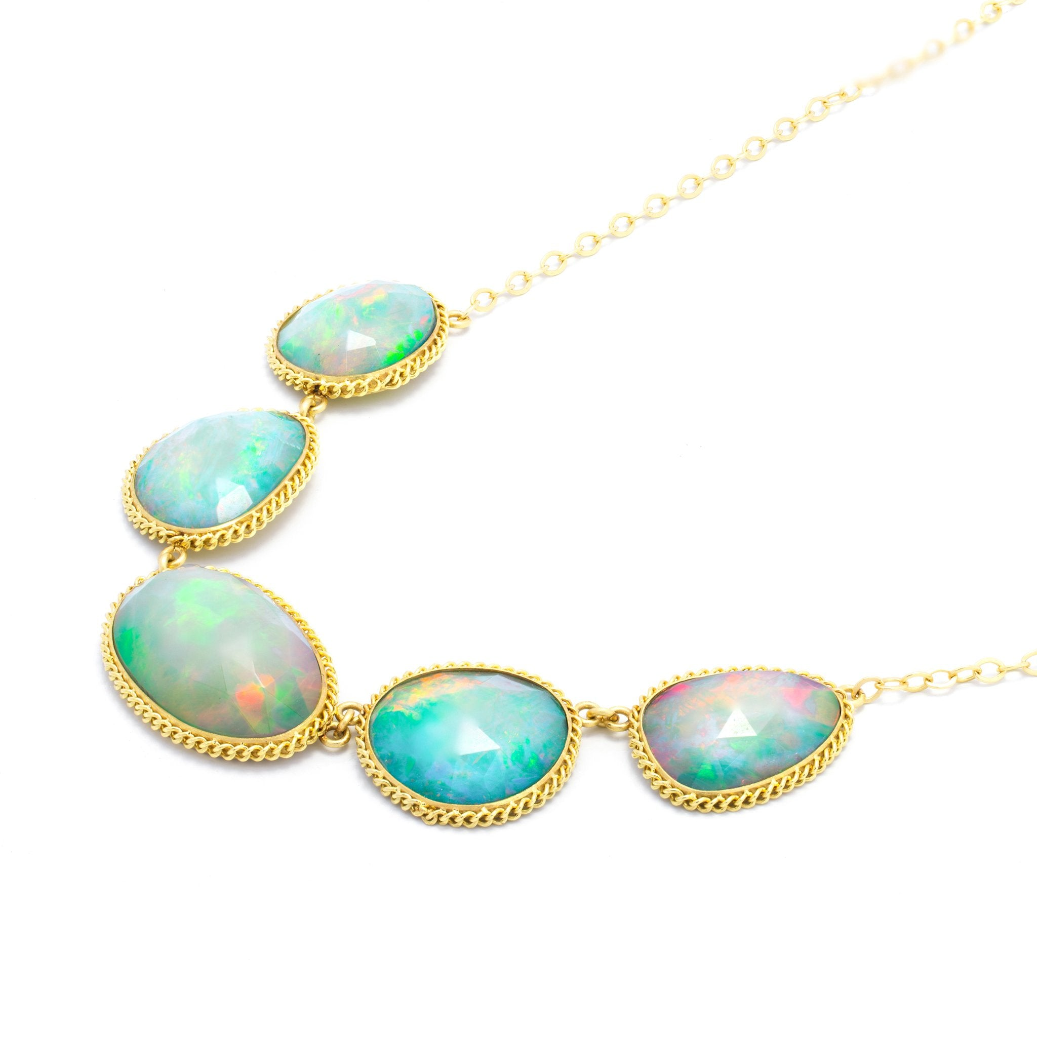 Amali Faceted Ethiopian Opal Pebble Necklace