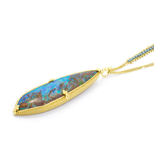 Amali Opalized Wood Pendant