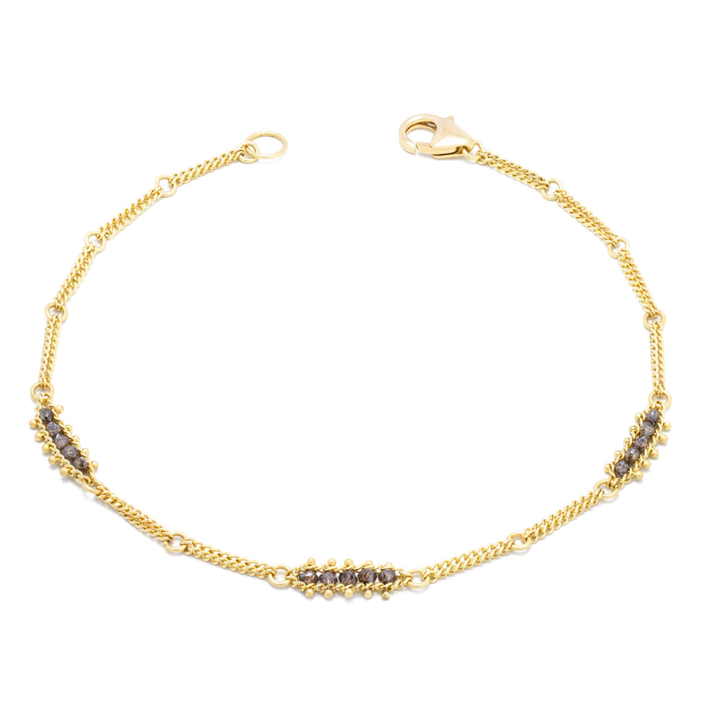 Amali-Textile Station Bracelet in Champagne Diamond
