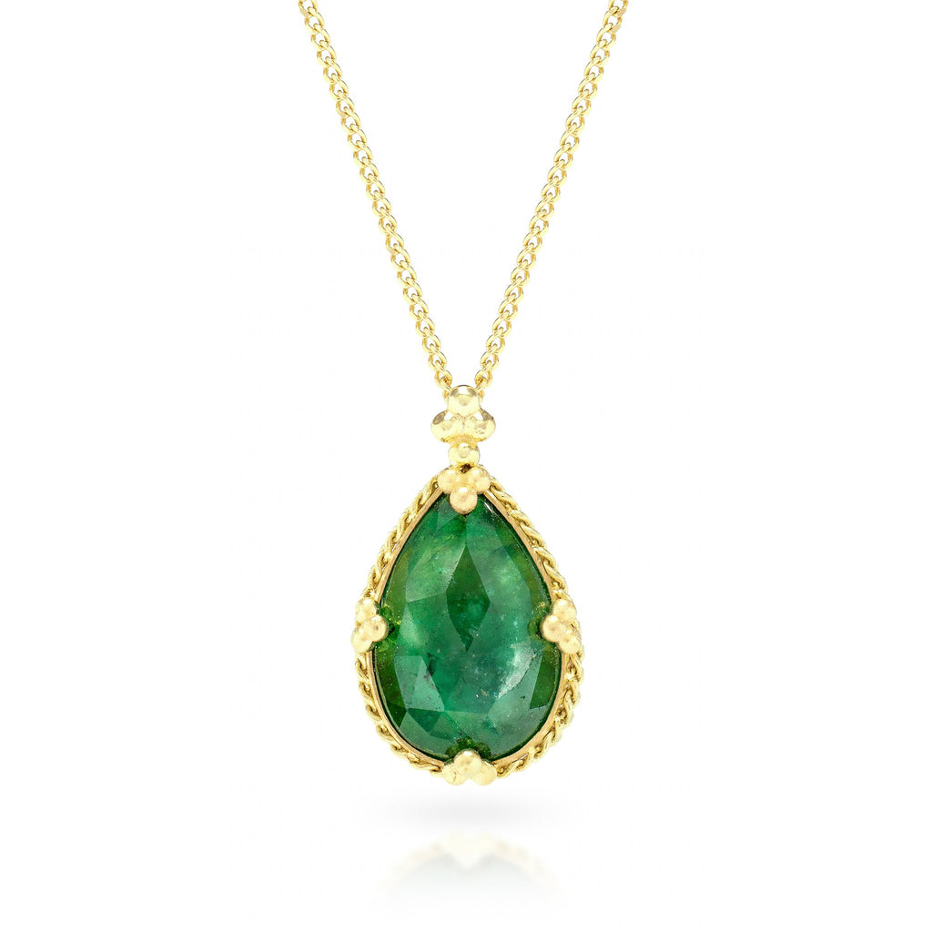 Amali-Emerald Teardrop Necklace