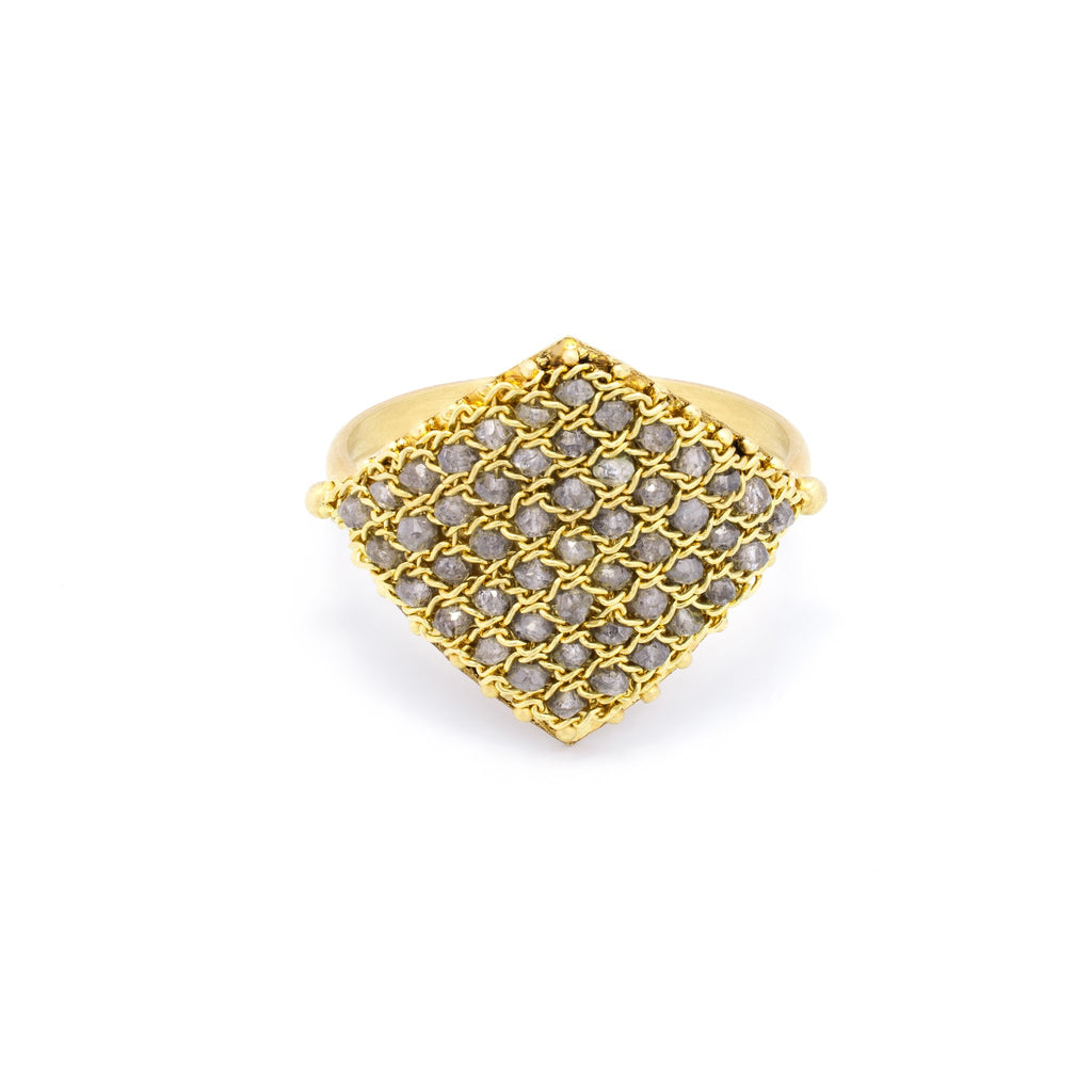 Amali Textile Ring in Grey Diamond