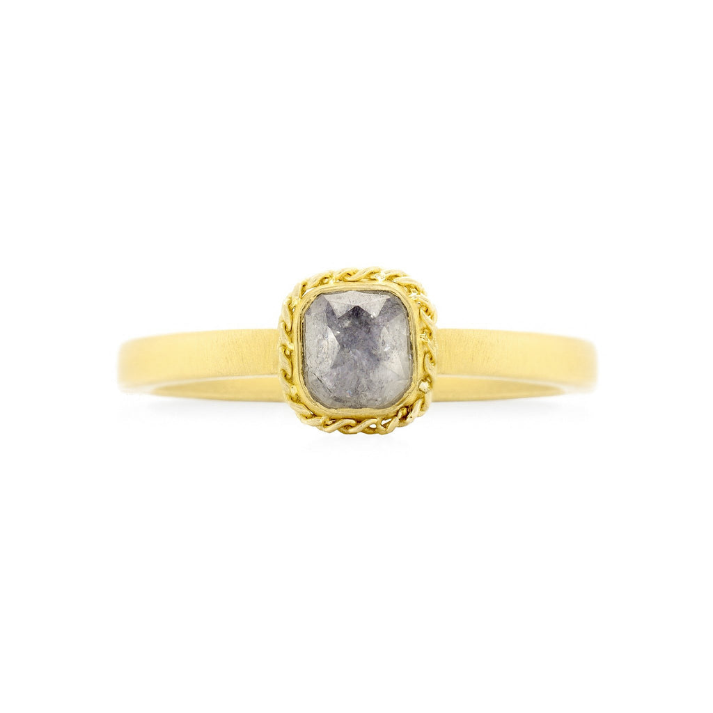 Amali-Grey Cushion Cut Diamond Ring
