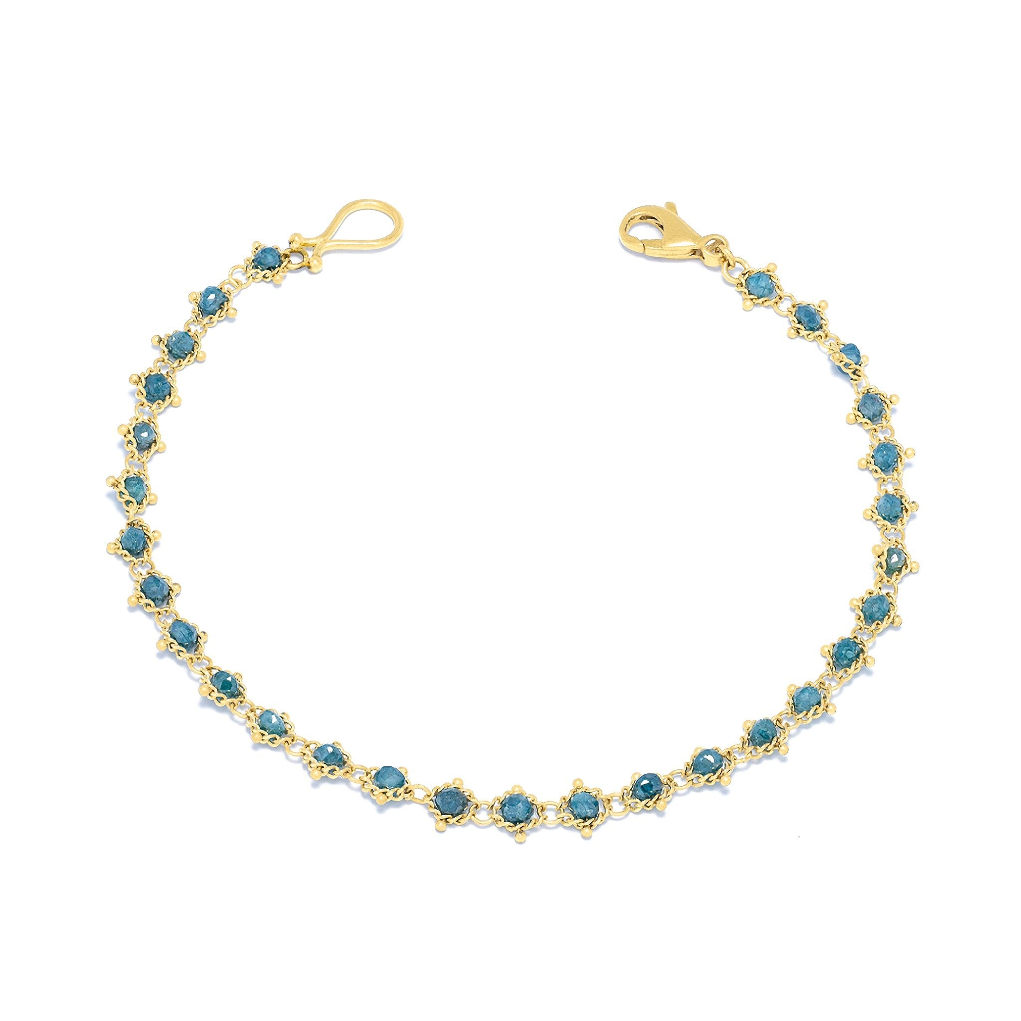 Amali-Textile Bracelet in Blue Diamond
