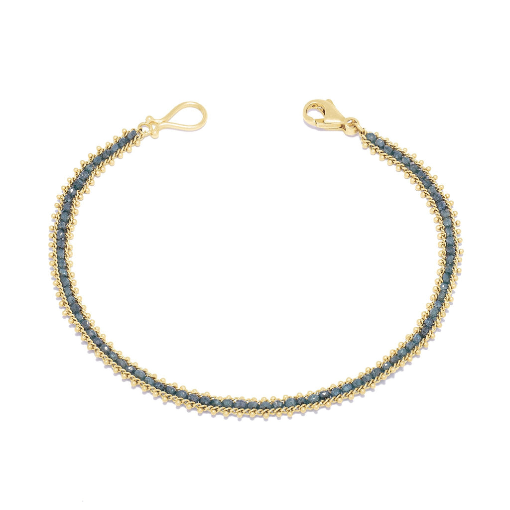 Amali-Textile Row Bracelet in Blue Diamond