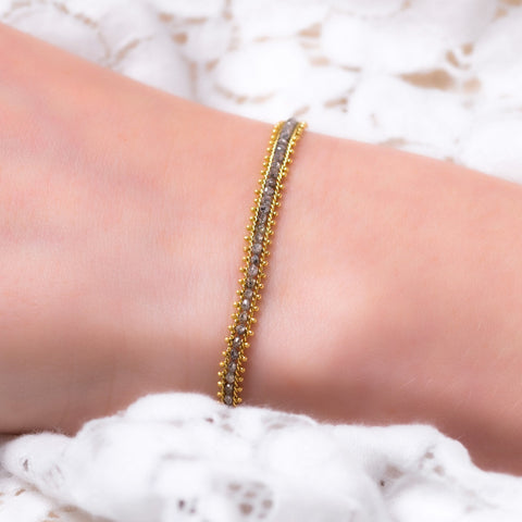Amali-Textile Row Bracelet in Grey Diamond