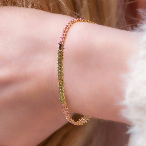 Amali-Textile Row Bracelet in Tourmaline