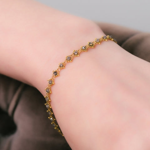 Amali-Textile Bracelet in Grey Diamond