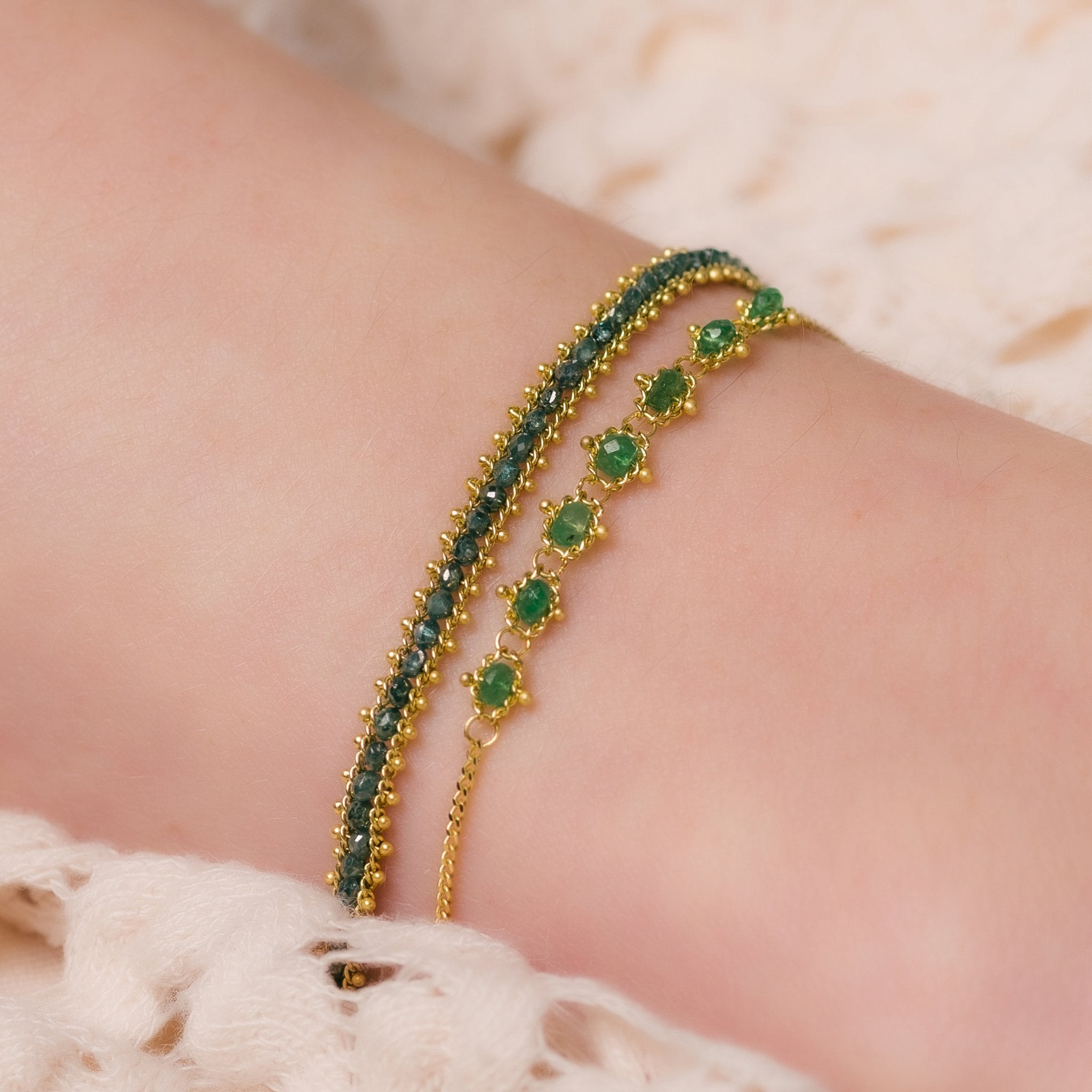 Emerald Textile Station Bracelet with a blue diamond bracelet