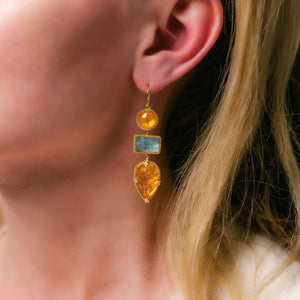 Spessartite & Aquamarine Earrings