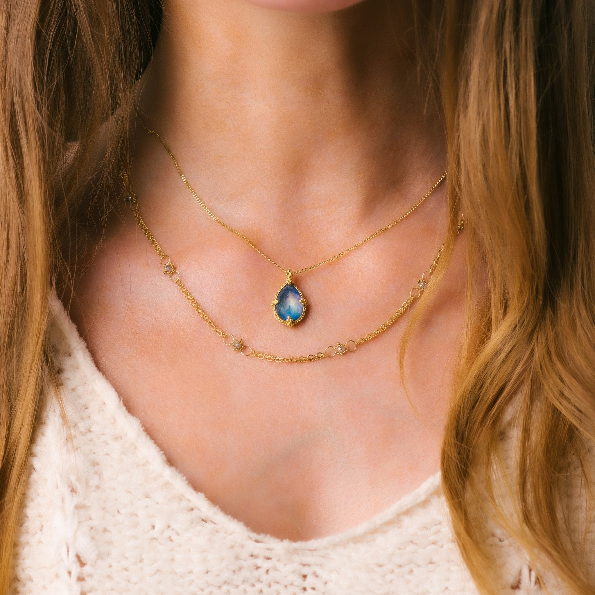 Faceted Moonstone Teardrop Necklace