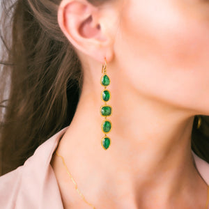 Emerald Stunner Earrings on an ear