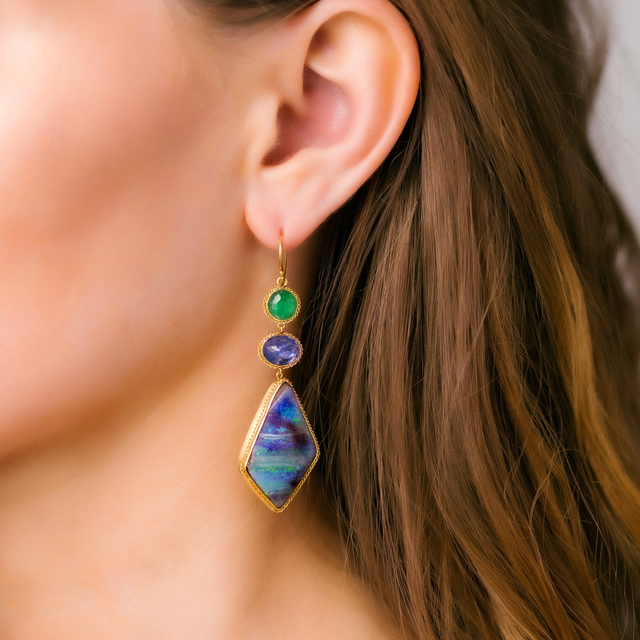 Boulder Opal Triple Drop Earrings
