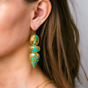 Turquoise Triple Drop Earrings