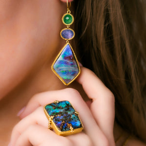 Amali-Boulder Opal Triple Drop Earrings