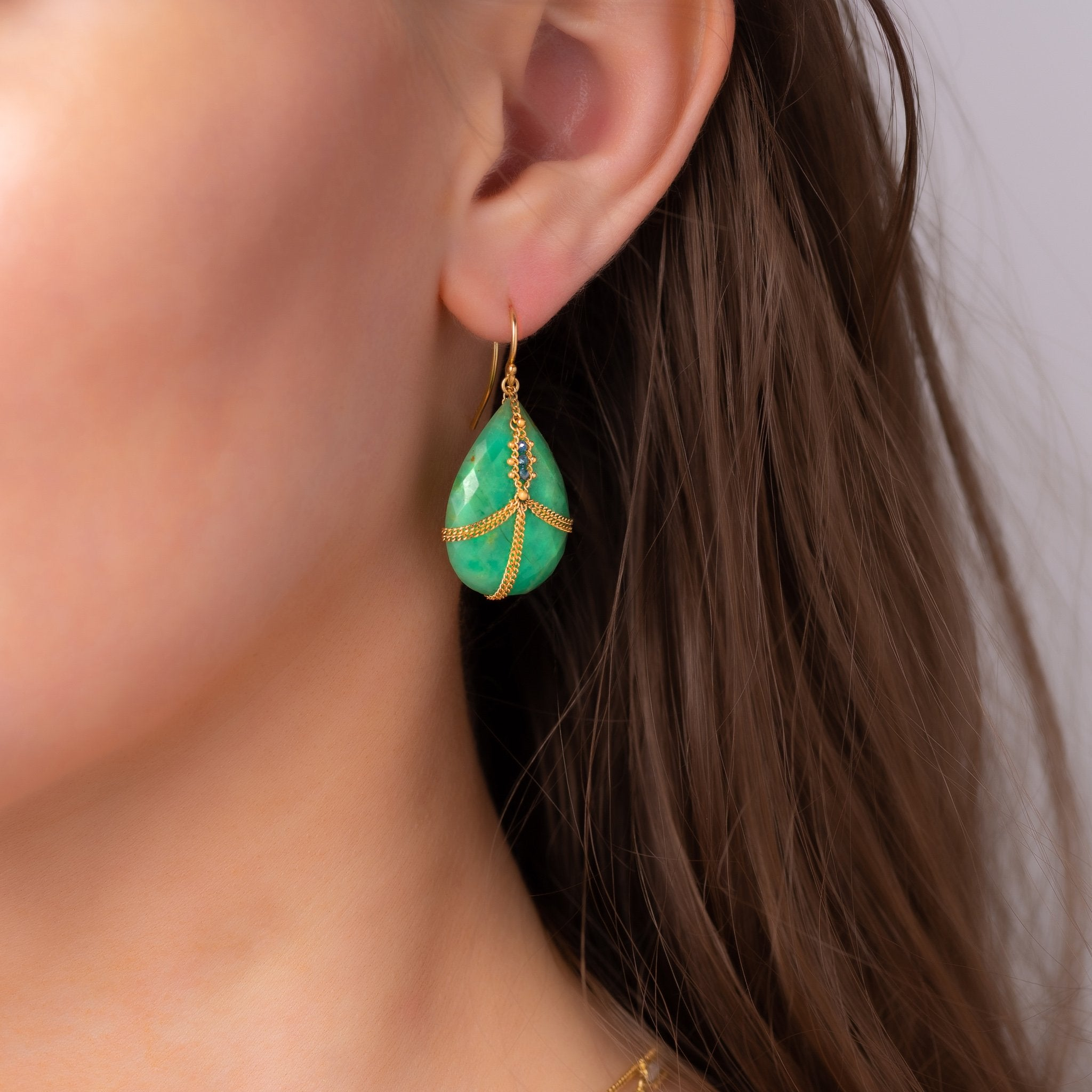 Blue Diamond Draped & Chrysoprase Earrings lifestyle picture
