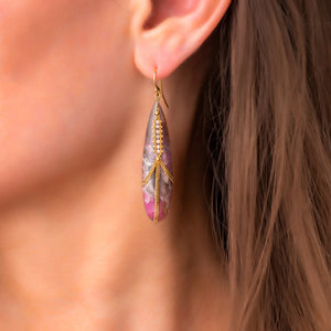 Amali-Draped Tourmaline with Silver Diamonds