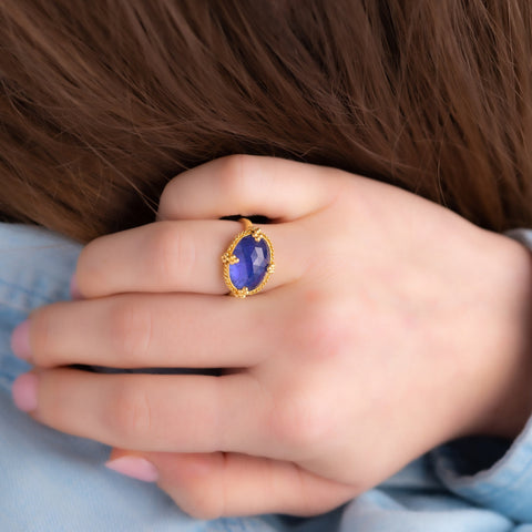 Amali Tanzanite Oval Landscape Ring