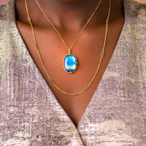 Amali Moonstone Mirror Necklace